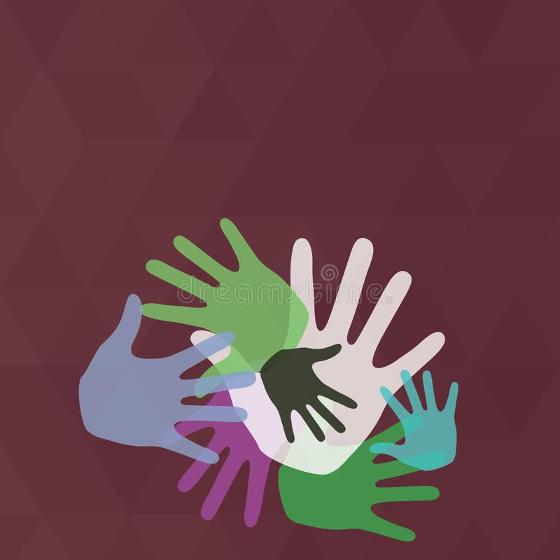 Colorful Hand Marks of Different Sizes Overlapping Overlaying. Creative Background Idea for Team Bulding Presentation stock illustration