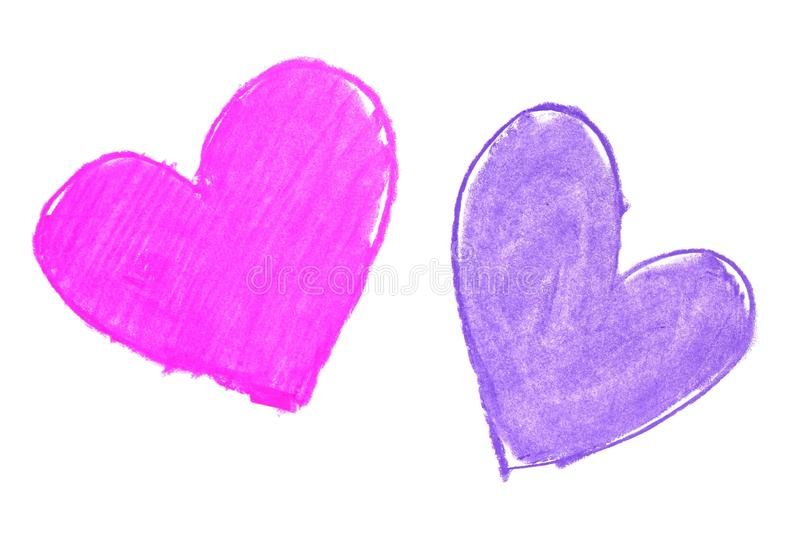 Colorful hand painted heart shapes draw. On an white background royalty free stock image