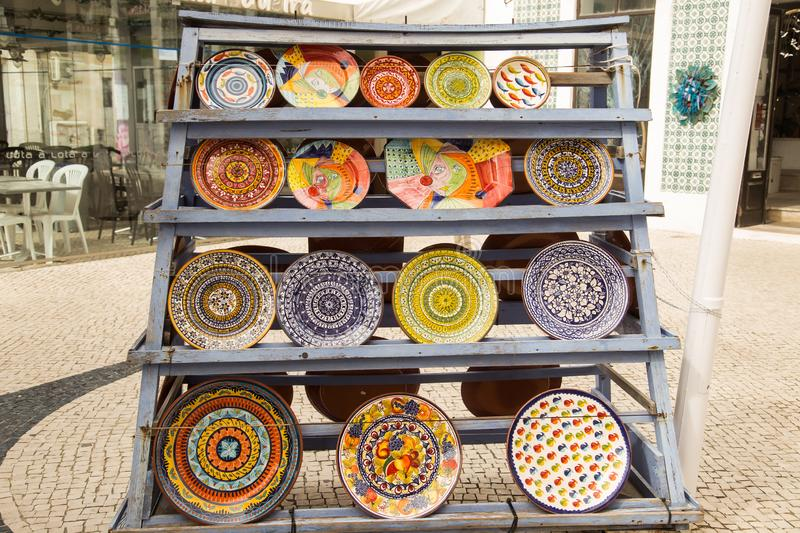 Colorful hand painted plates of the Portugal stock photography