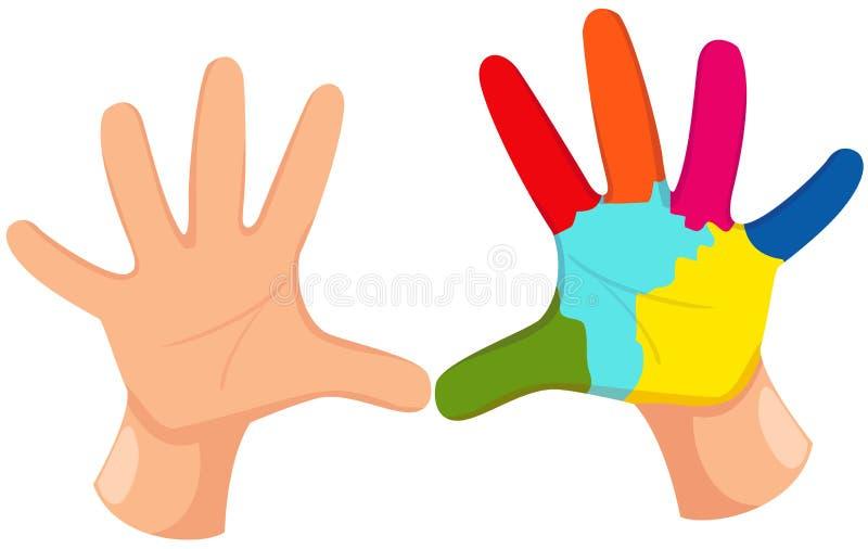 Colorful hand print stock illustration