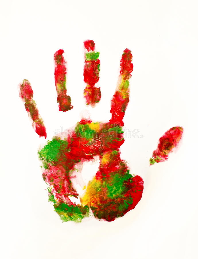 Colorful hand print stock image