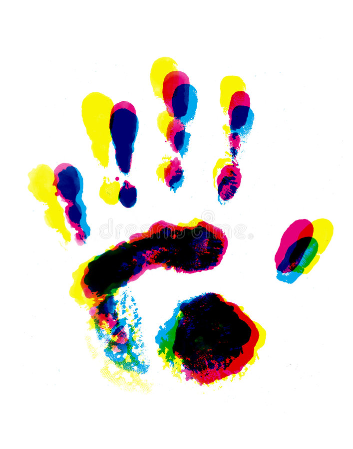 Colorful hand print royalty free illustration