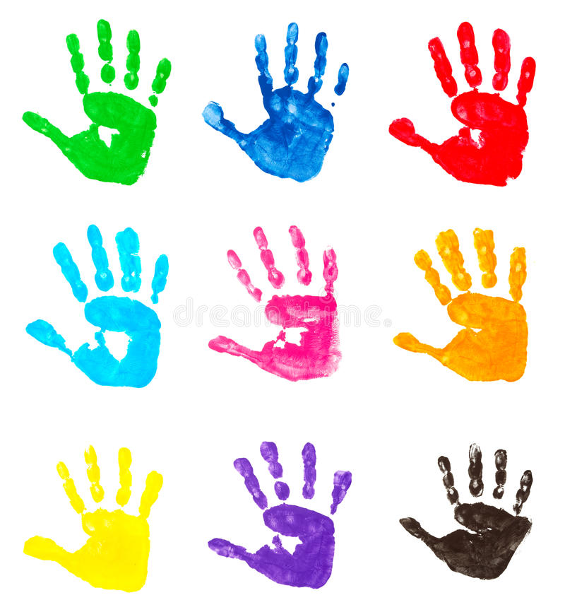 Colorful hand prints vector illustration