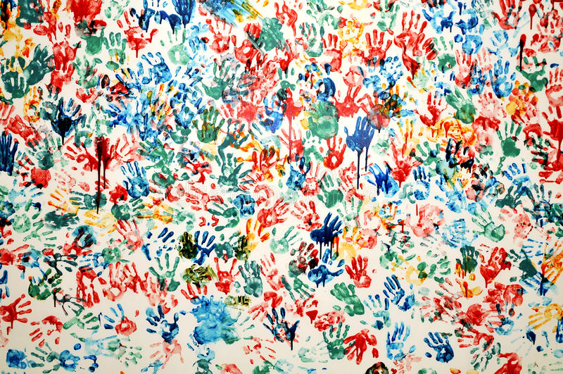 Colorful hand prints royalty free stock images