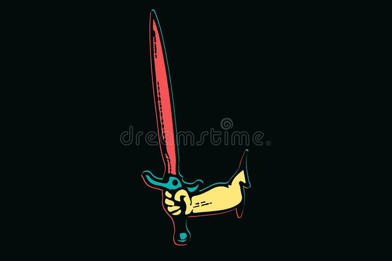 Isolated colorful hand with sword in blood, hand broke through the wall vector illustration stock illustration
