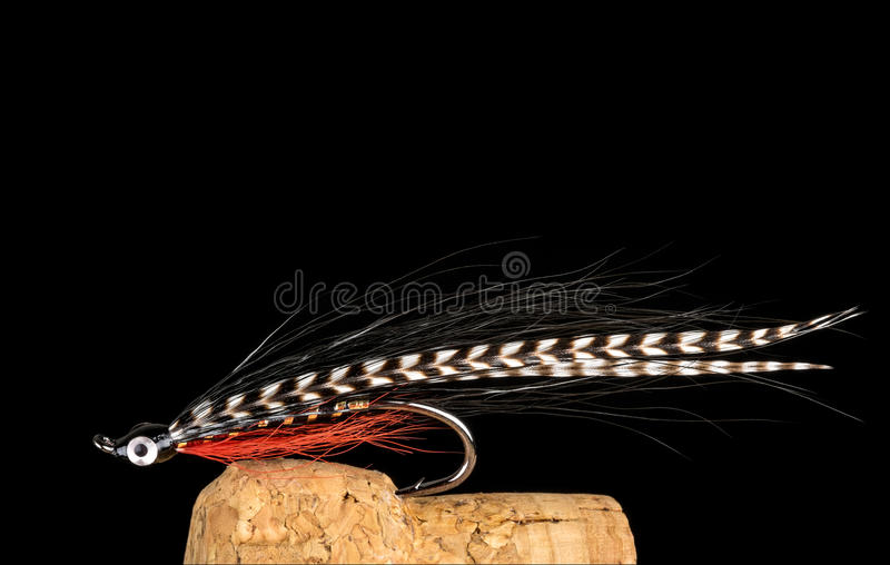 Colorful Hand Tied Fishing Flies Displayed on Champagne Cork 9 stock photography