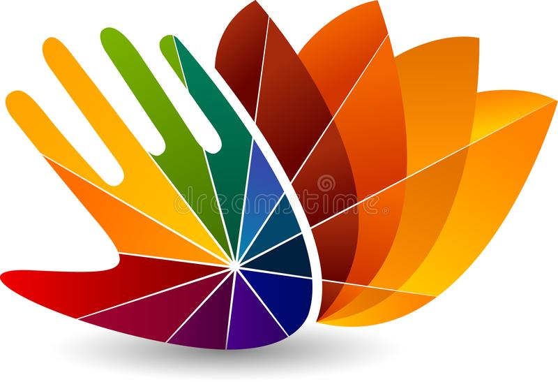 Colorful hand yoga logo stock illustration