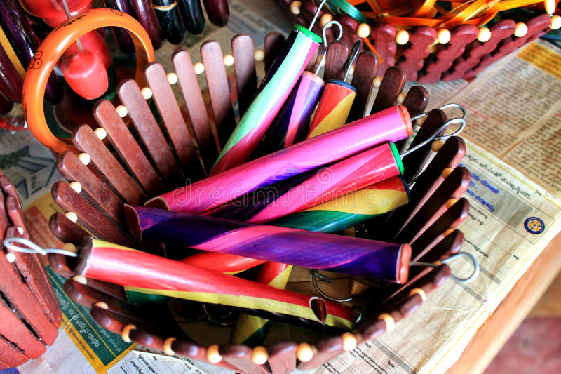 Colorful handcraft made by bamboo. royalty free stock photos