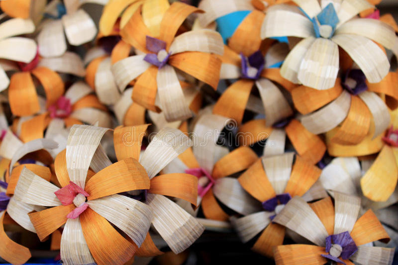 Colorful handcraft made by bamboo. stock images