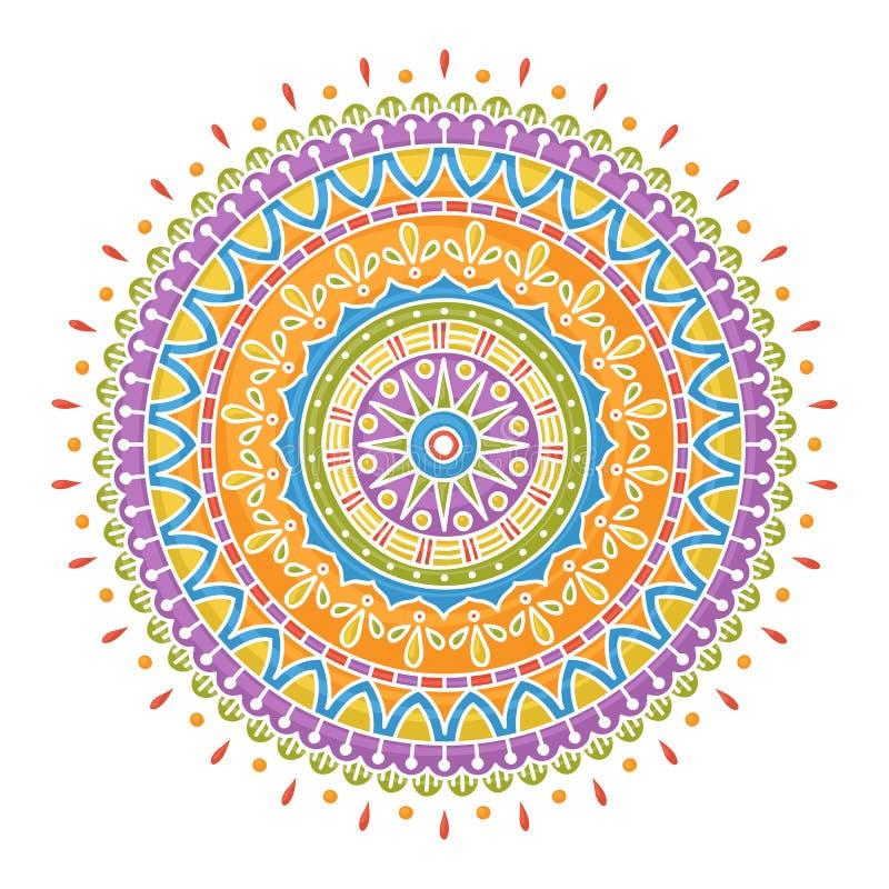 Colorful handdrawn mandala. Handrawn colorful mandala on white background royalty free illustration