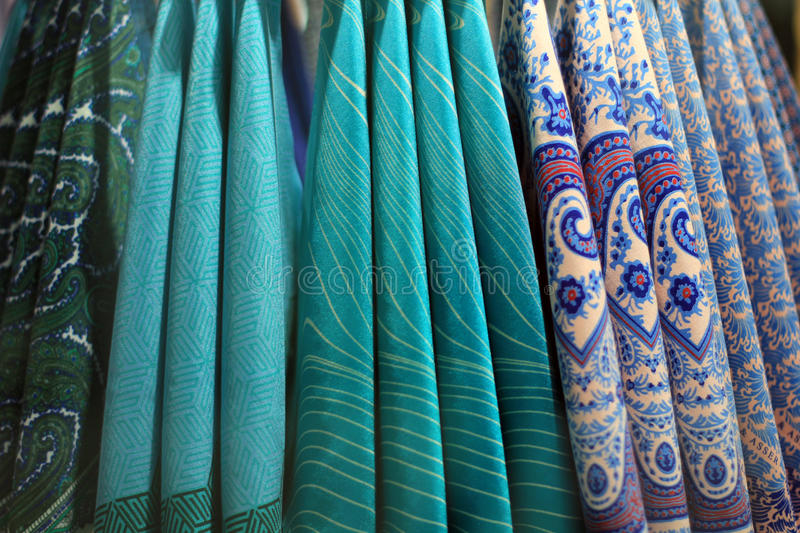 Colorful handkerchiefs. Arrangement of colorful handkerchiefs hanging in store display royalty free stock image