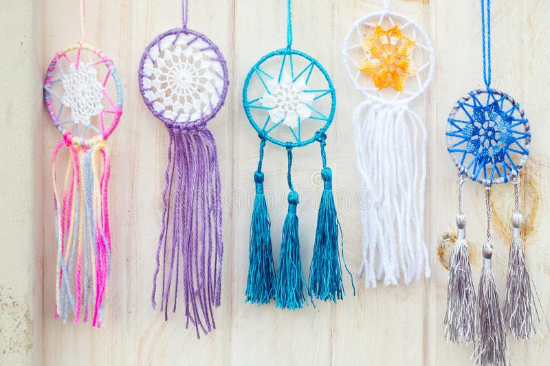 Colorful handmade dream catchers hanging royalty free stock photo