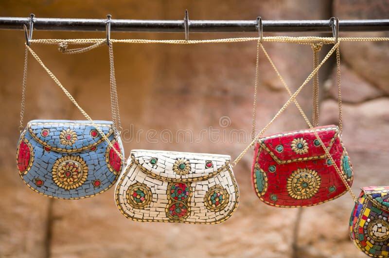 Colorful handmade ladies handbag Petra, Jordan. Colorful handmade ladies handbag Petra in Jordan royalty free stock photography
