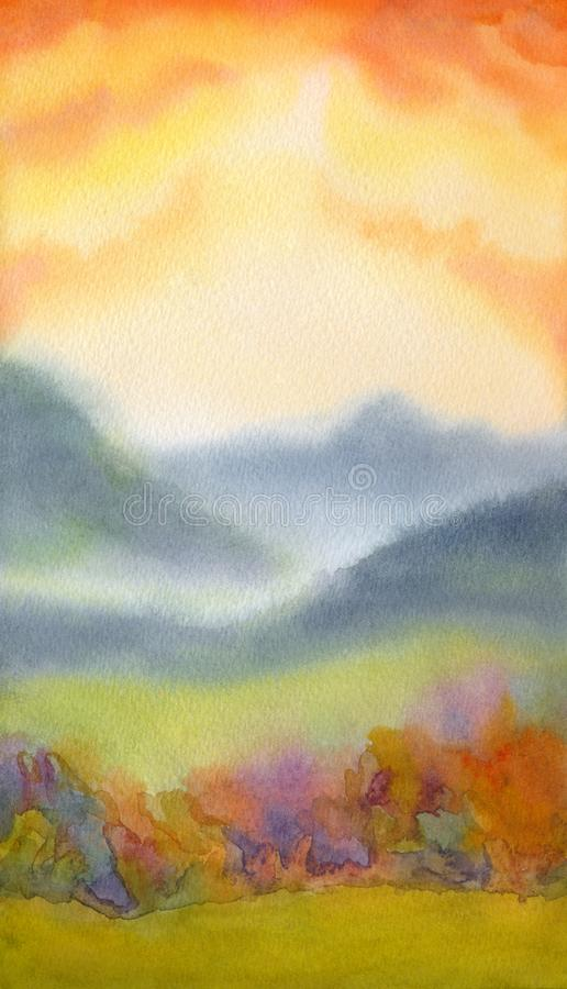 Watercolor landscape. Sunset over mountains. Colorful handmade watercolour romantic backdrop with space for text on pink heaven. Light green grassland steep and stock illustration