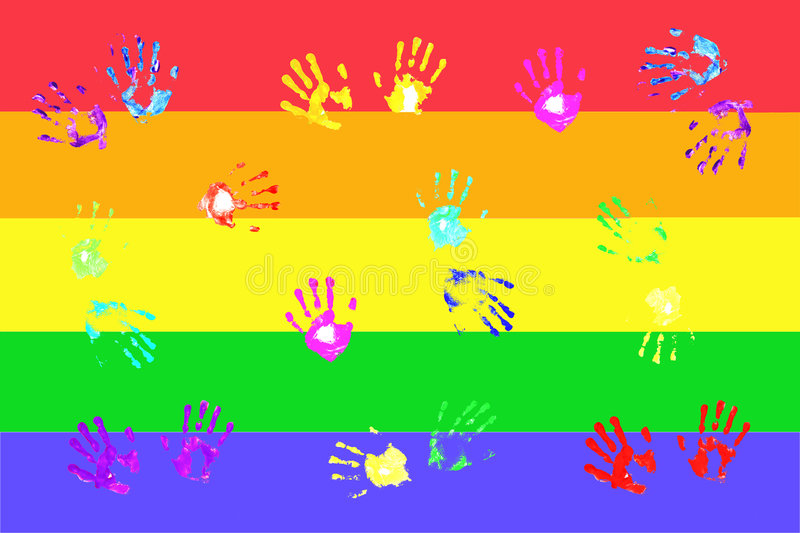 Colorful handprints by kids royalty free illustration