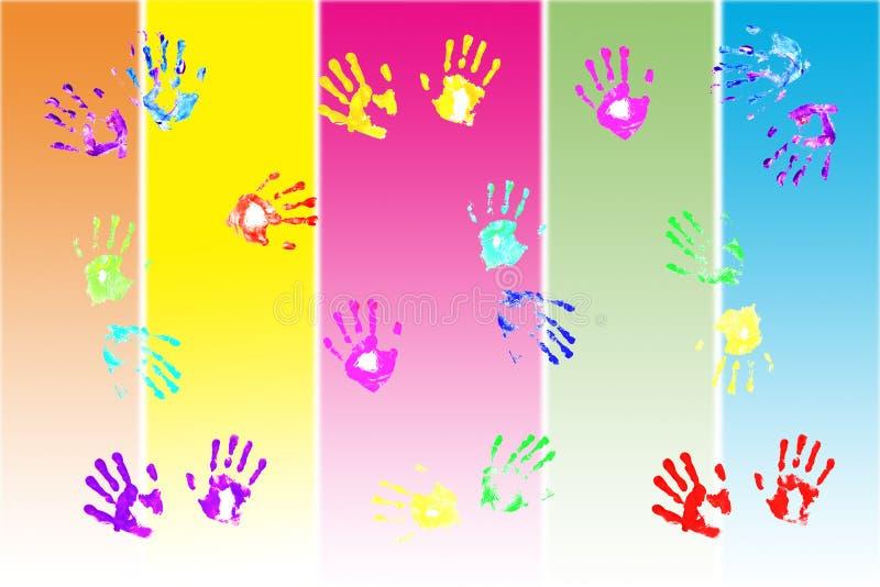 Colorful handprints by kids vector illustration