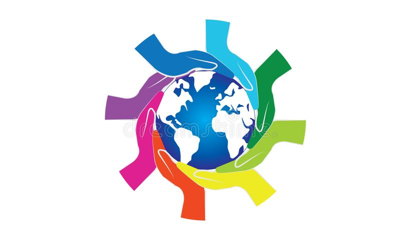 Colorful Hands Around of World and World Help Concept. Teamwork Concept and support world - Hands Join Teamwork Symbol and world map - Helping Sign Logo Symbol vector illustration