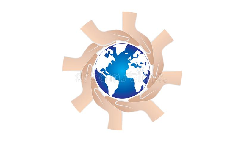 Colorful Hands Around of World and World Help Concept. Teamwork Concept and support world - Hands Join Teamwork Symbol and world map - Helping Sign Logo Symbol royalty free illustration