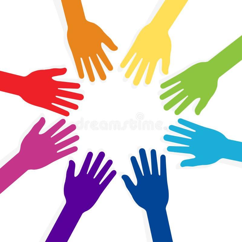 Download Colorful Hands Forming Shape Teamwork Stock Vector - Illustration: 33340745