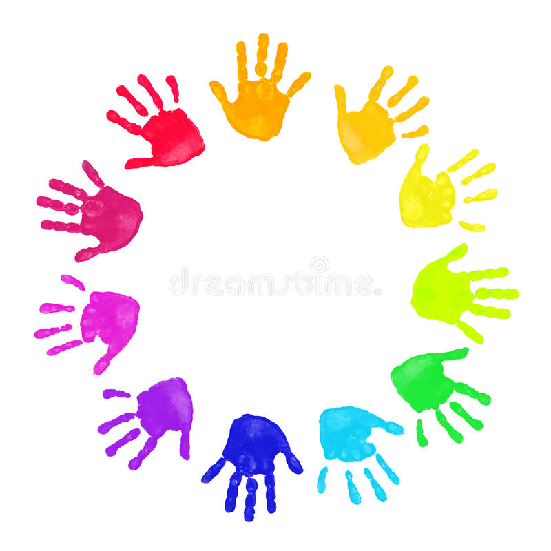 Download Colorful hands prints stock illustration. Illustration of green - 16827435