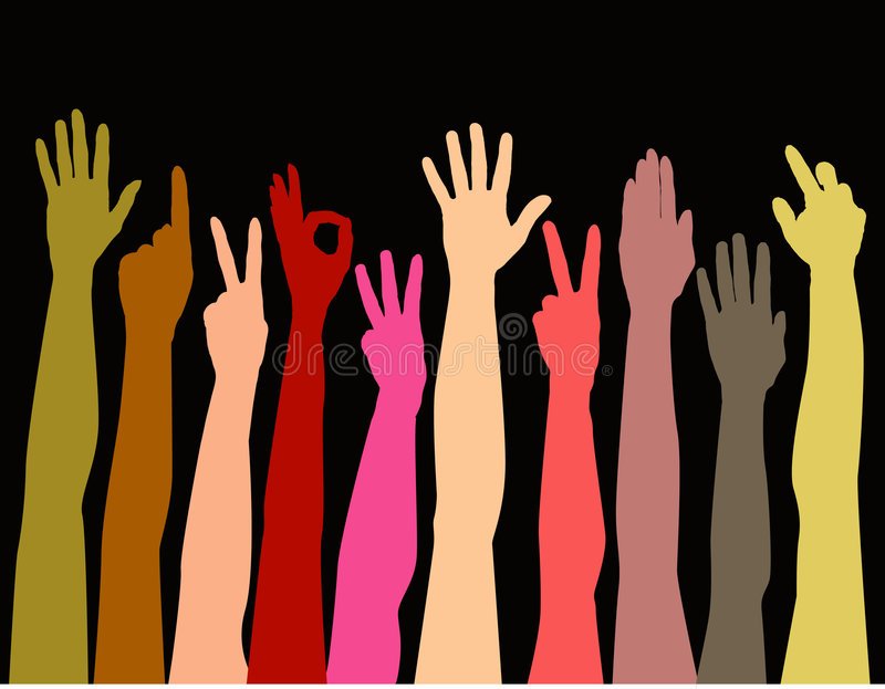 Colorful hands reaching up. A background of colorful hands reaching up