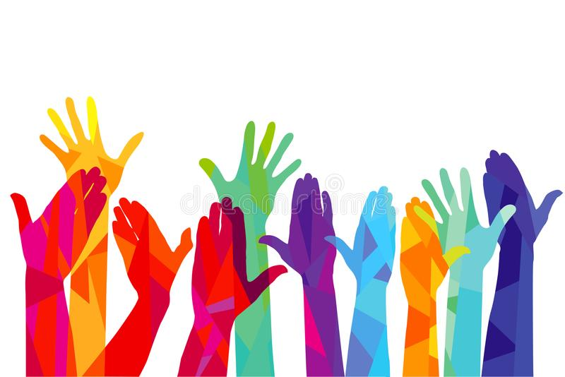 Colorful hands stretching up royalty free illustration