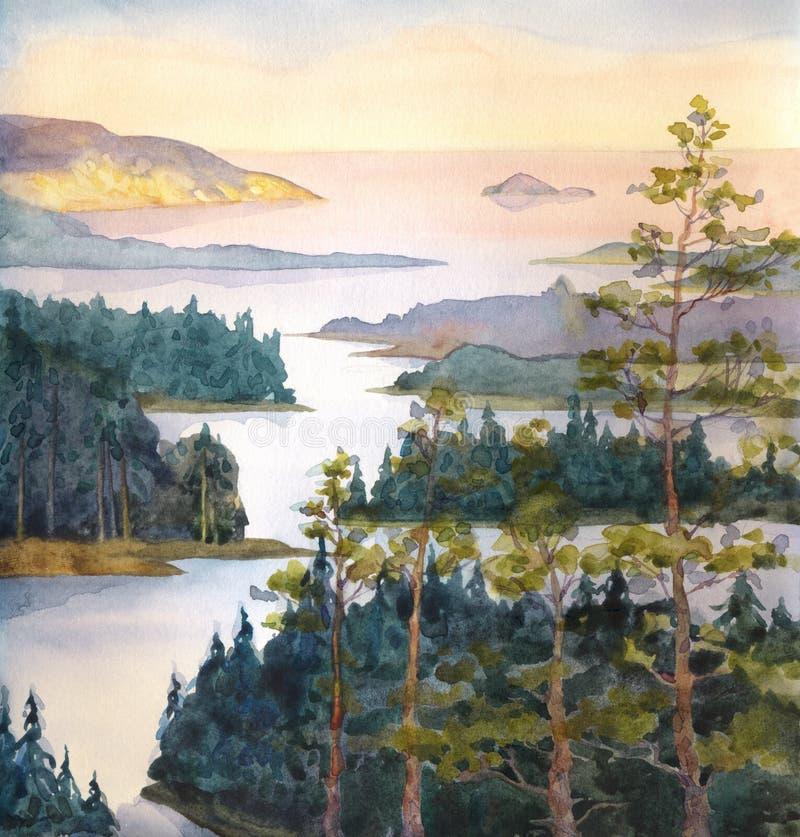 Watercolor landscape. River of spruce forest stock illustration