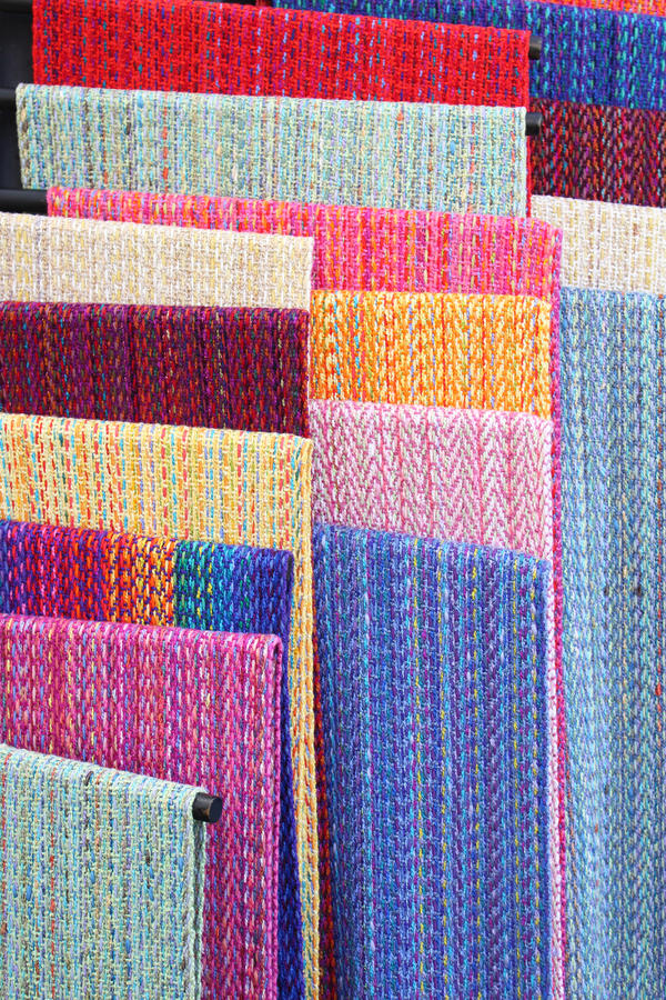 Colorful handwoven textiles royalty free stock images