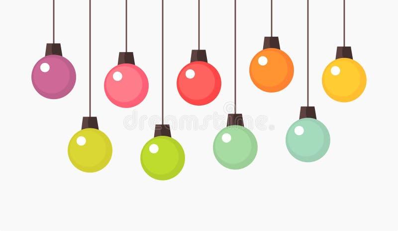 Colorful hanging Christmas balls ornaments royalty free illustration