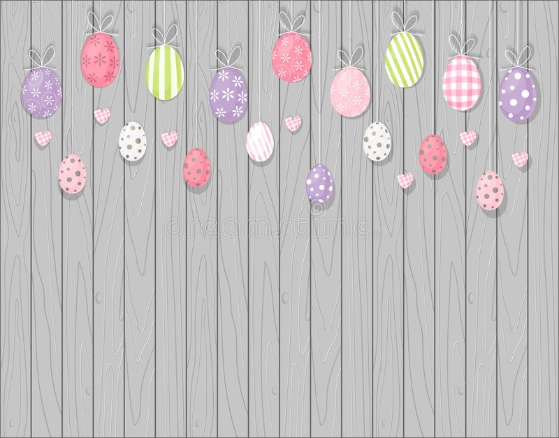 Colorful hanging easter eggs. Rustic wooden background. Cartoon style. N stock illustration