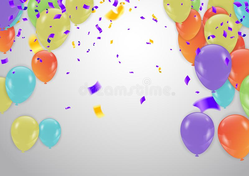 Colorful Happy Birthday. Announcement with balloon, confetti and royalty free illustration