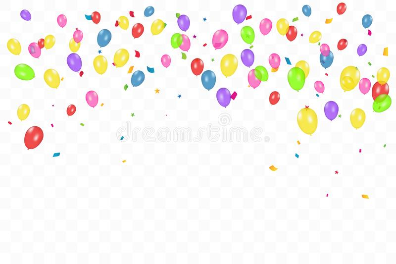 Colorful Happy Birthday Background With Balloons And Confetti. Celebration Event Party. Multicolored. Vector stock illustration