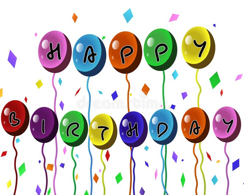 Colorful Happy Birthday Balloons banner stock illustration