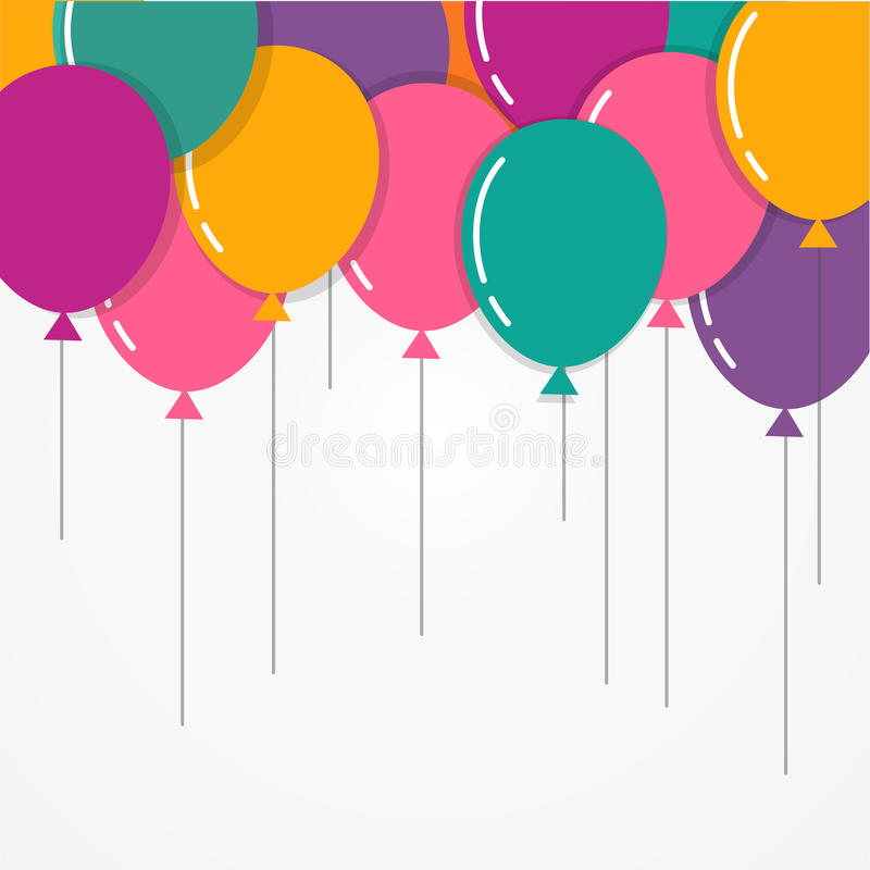 Colorful Happy Birthday with balloons, poster, greeting card. Colorful Happy Birthday with balloons, poster, flyer, greeting card in a flat style vector illustration