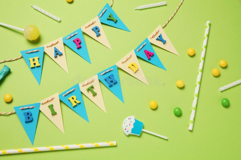 Colorful happy birthday decor for children party. Invitation royalty free stock photo