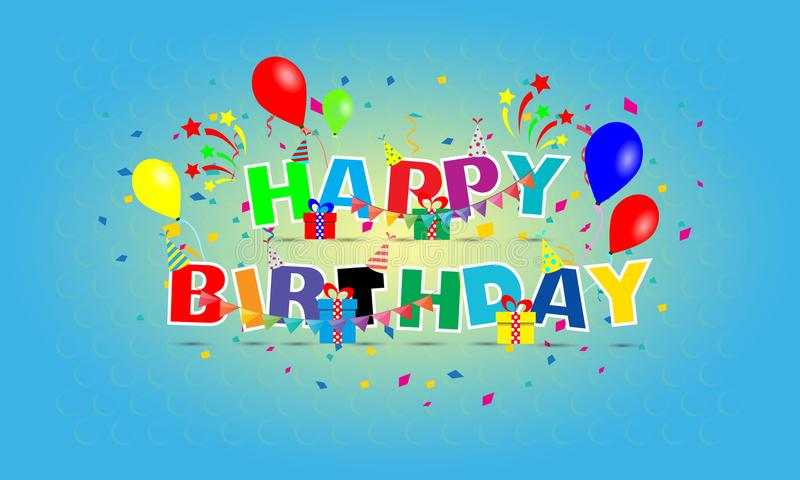 Colorful Happy birthday design vector for your greetings card stock photography