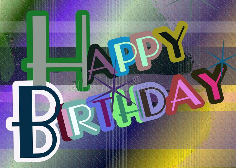 Colorful Happy birthday greeting card. Nice happy birthday greeting card with stars. A cool idea for this event royalty free illustration