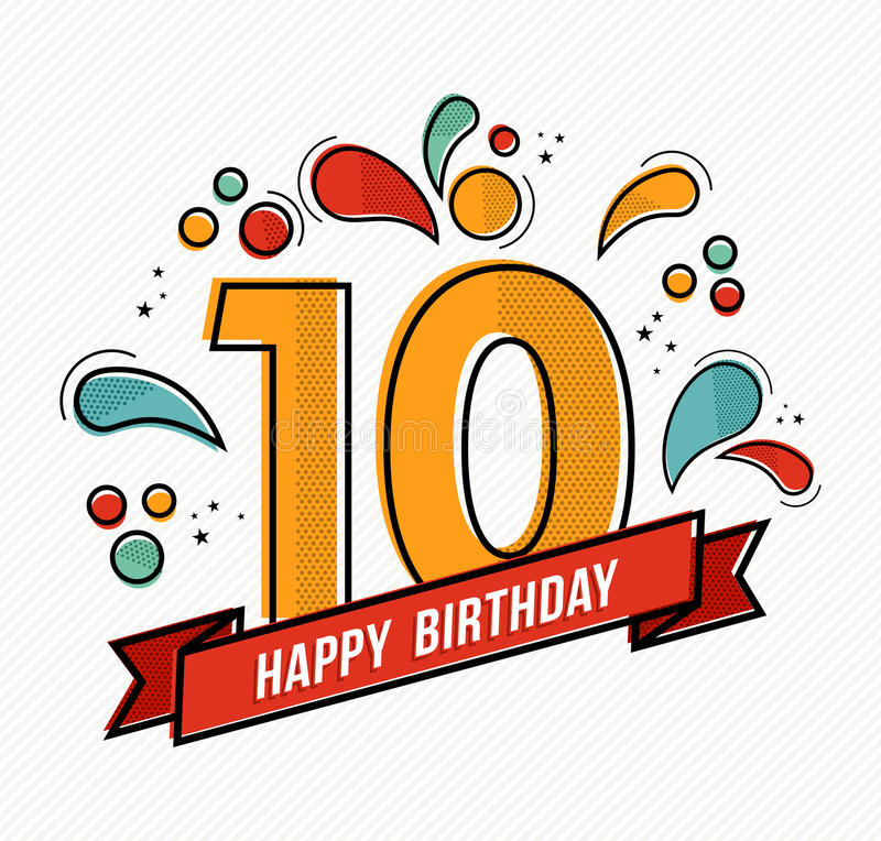 Colorful happy birthday number 10 flat line design. Happy birthday number 10, greeting card for ten year in modern flat line art with colorful geometric shapes stock illustration