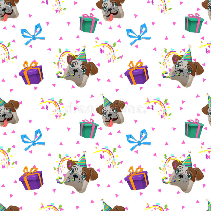 Colorful Happy Birthday Seamless pattern. vector illustration