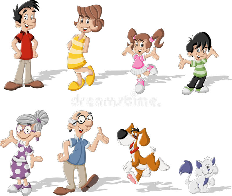 Colorful happy cartoon family with pets stock illustration