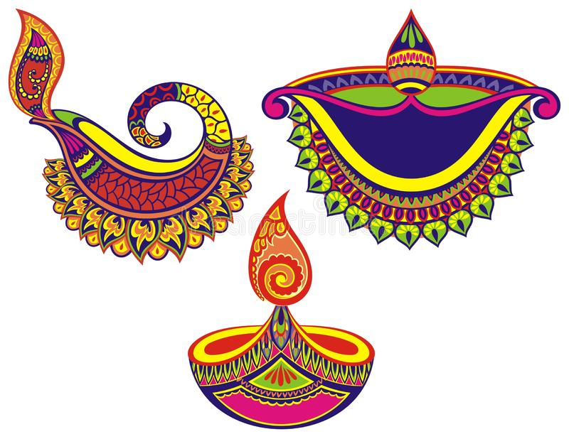 Colorful Happy Diwali set of lamps. Happy Diwali set of lamps on white background stock illustration