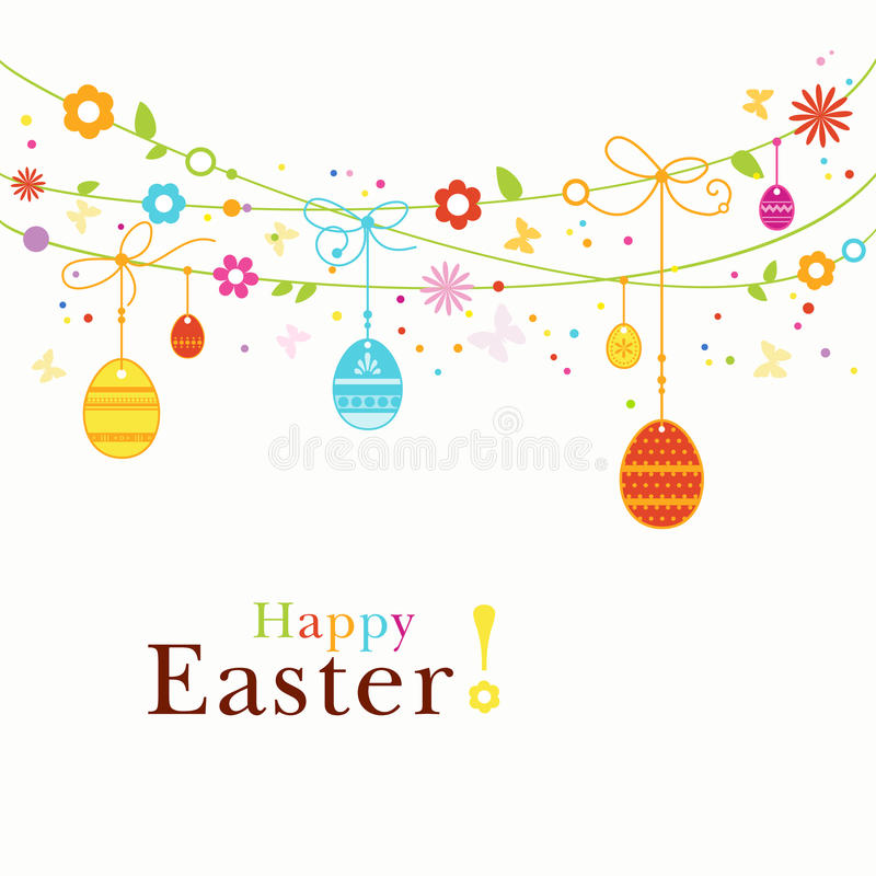 Colorful Happy Easter border stock illustration