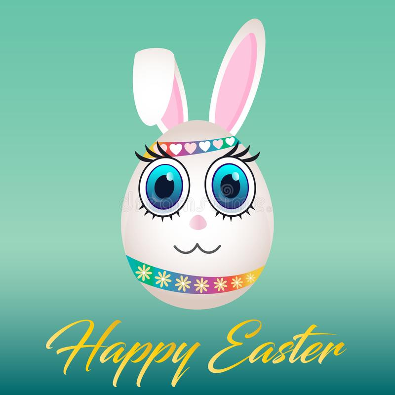 Colorful Happy Easter Bunny Egg Cartoon Poster Card stock illustration