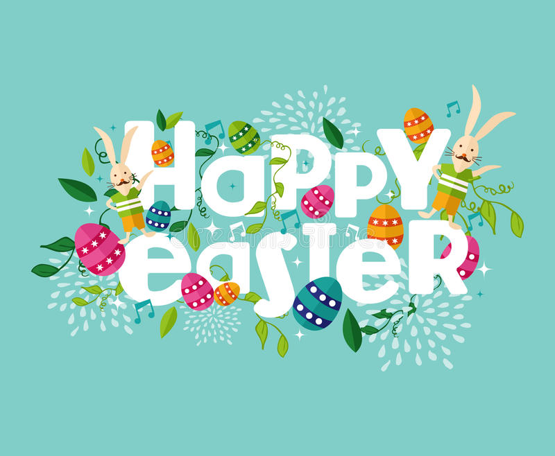 Colorful Happy Easter composition stock illustration