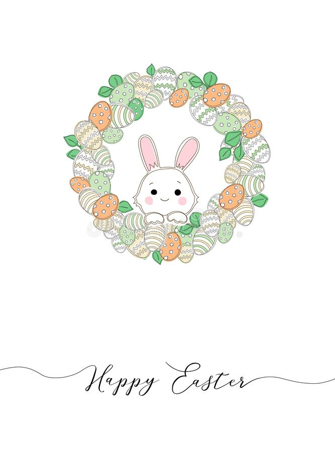 Colorful Happy Easter greeting card vector illustration