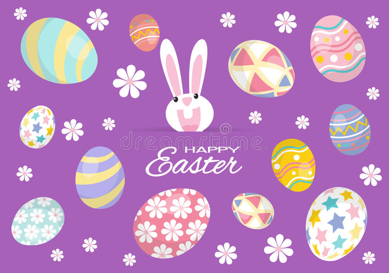 Colorful Happy Easter greeting card with rabbit, bunny and eggs royalty free illustration