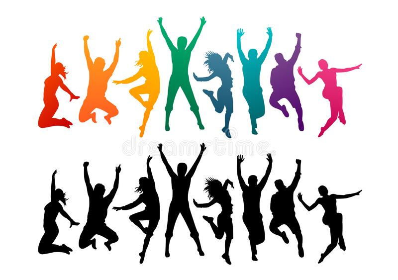 Colorful happy group people jump illustration silhouette. Cheerful man and woman isolated. Jumping fun friends background. Express stock illustration