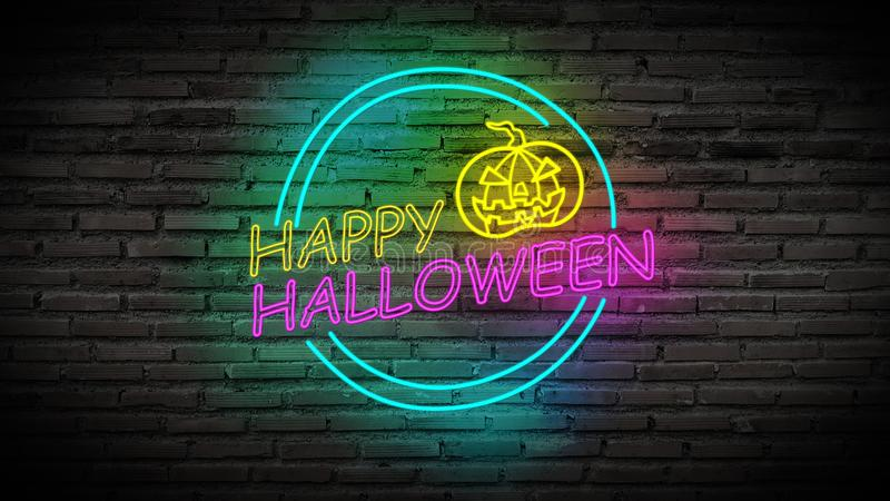 Colorful Happy Halloween bright light neon sign for party with scary pumpkin on retro brick wall background stock illustration