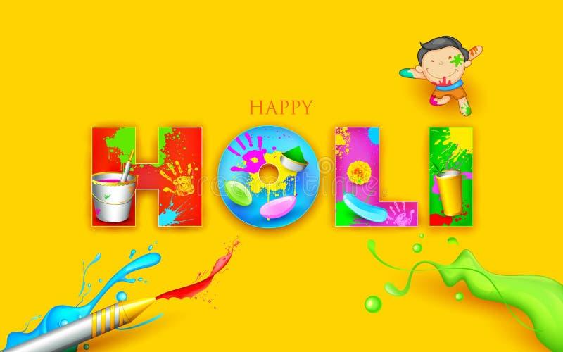 Colorful Happy Holi. Illustration of colorful Happy Holi background design royalty free illustration