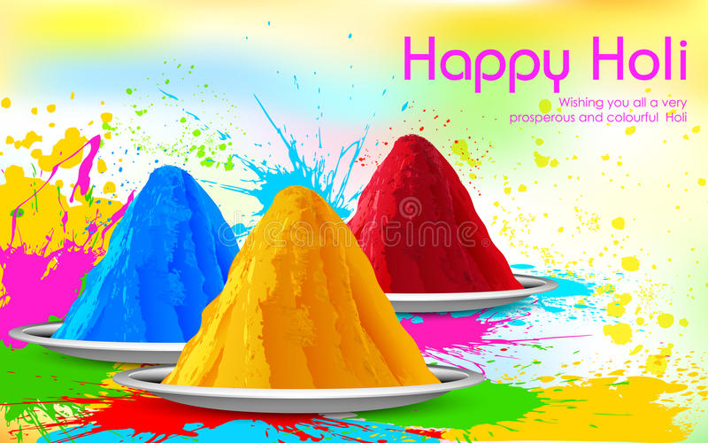 Colorful Happy Holi. Illustration of colorful gulal ( colors powder ) for Happy Holi stock illustration